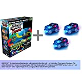 Magic Tracks 220-Piece Glow-in-the-dark Racetrack and Car Play Set with 3 Pieces Car (inside the package)+ Travel Bag