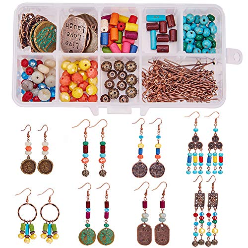SUNNYCLUE 1 Box DIY 8 Pairs Red Copper Bohemian Chandelier Dangle Earring Jewelry Making Starter Kit for Women Girls Beginners Adults Nickel Free