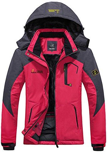 Wantdo Women's Waterproof Mountain Jacket Fleece Windproof Ski Jacket US XS  Rose Red X-Small