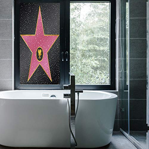 YOLIYANA Vinyl Non Adhesive Privacy Film,Popstar Party,for Any Places: Kitchen, Bedroom,Hollywood Walk of Fame Symbol Celebrity Entertainment Culture,24''x48''