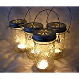 Mountain Woman Products Four Glass Quilted Mason Jar Lanterns Candle Holder Outdoor Lighting