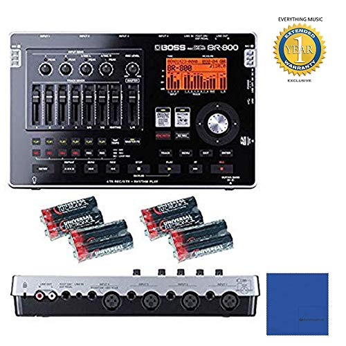 - Boss BR-800 8-track Digital Recorder with Free 8 Universal Electronics AA Batteries with Microfiber and 1 Year Everything Music Extended Warranty