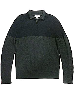 Calvin Klein Men's Mock Neck Quarter Zip Sweater - Large