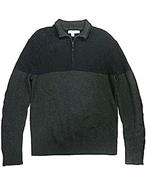 Calvin Klein Men's Mock Neck Quarter Zip Sweater - Large