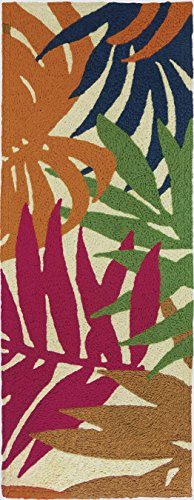 "Jellybean Colorful Palms Stripe Indoor/Outdoor Rug 21"" X 54"""