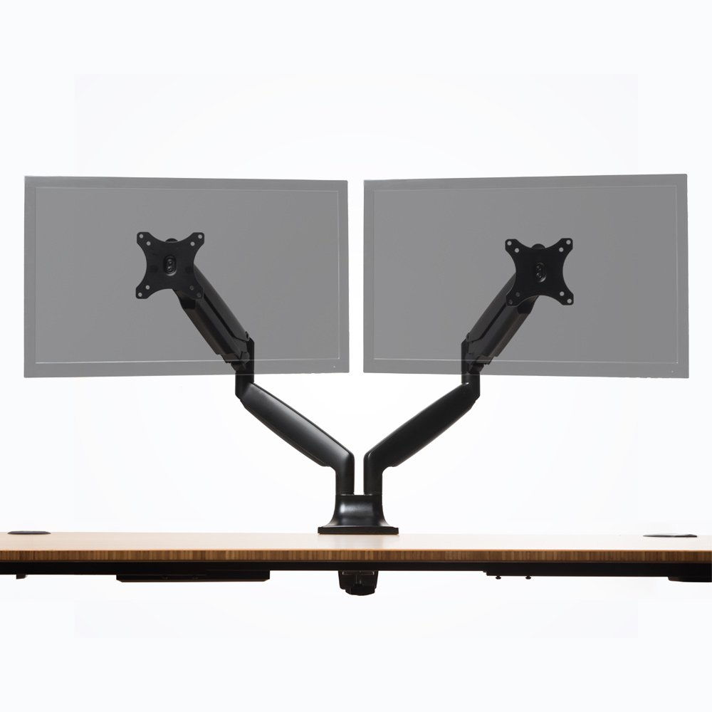 Jarvis Monitor Mounting Arm -- Fits up to 32'' Computer Displays (Dual, Black)