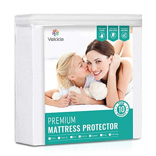 Vekkia Premium Queen Mattress Protector Waterproof Bed Cover. Soft Cotton Terry Surface Fabric, Breathable, Quiet, Hypoallergenic. Pet & Fluids Proof. Safe Sleep for Adults & Kids (Queen)