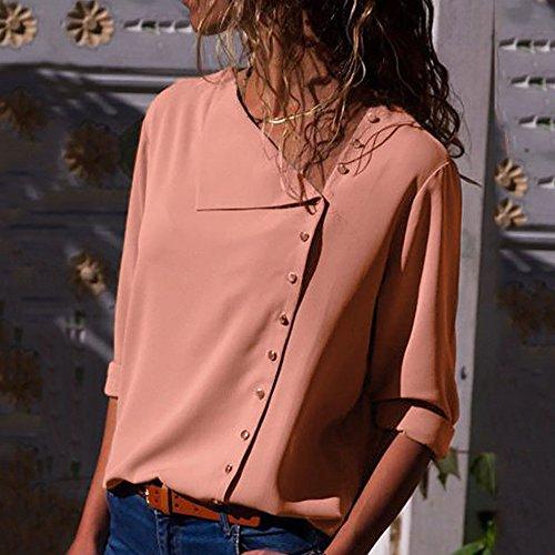 Revers Slant De Longues de Pink M Col Top amp;TT en Bouton Soie Chemise De 6 Chemise Couleur Irrgulire Gray W Mousseline Couleurs Manches F8qAxw