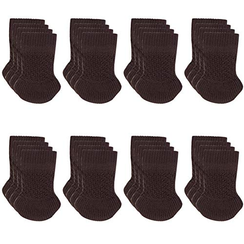 Chair Leg Socks - 32 pcs Knitting Wool Furniture Feet Socks/Chair Leg Floor Protectors/Chair Leg Socks/High Elastic Brown Furniture Pads Covers Furniture Caps Set