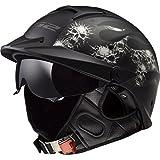LS2 Helmets Rebellion Bones Graphic Unisex-Adult Half-Size-Helmet-Style Helmet with Sun Shield (Matte Black, Medium)
