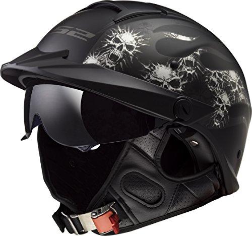 LS2 Helmets Motorcycle & Powersports Helmet's Half Rebellion (Bones Matte Black, Large)