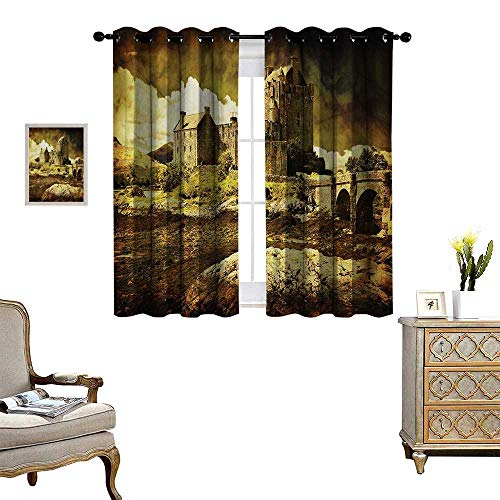 Anyangeight Medieval Thermal Insulating Blackout Curtain Old Scottish Castle Vintage Style European Middle Age Culture Heritage Town Photo Patterned Drape for Glass Door W55 x L39 Grey Green