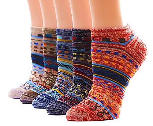 Dr. Anison Womens No Show Socks 100 Cotton Vintage Liner Pack of 5 Pair (Normal, Soc1079)