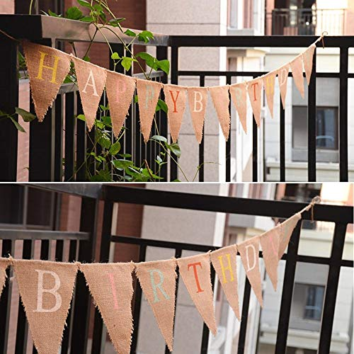 10 Feet HAPPY BIRTHDAY Printed Burlap Banner, Triangle Birthday Linen Bunting Pennant Flag Garlands Burlap Fabric Flags Double Sided Vintage Cloth Shabby Chic Decoration for Rustic Wedding Party