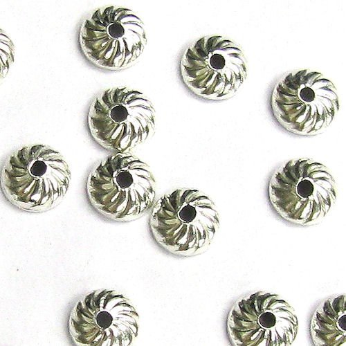 30 pcs .925 Sterling Silver Round Swirl Flower Bead Cap 4mm / Findings/Bright