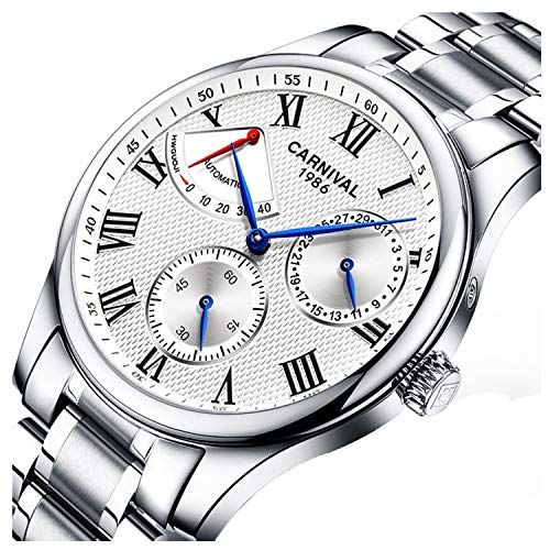 (Mens Power Reserve Display Automatic Mechanical Watches Full Stainless Steel Waterproof Swiss Watches (Silver)