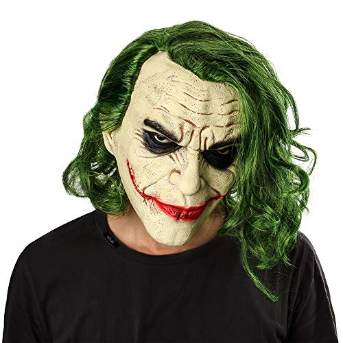 Halloween mask Joker Mask Movie Batman The Dark Knight Cosplay Horror Scary Clown Mask with Green Hair Wig Halloween Latex Mask Party Costume