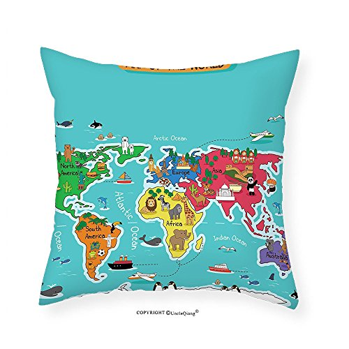 VROSELV Custom Cotton Linen Pillowcase Colorful Educational Kids Maps Decor Collection North South America Africa Asia Australia Pacific Indian Atlantic Ocean Bedroom Living Room Dorm 28