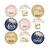 16 Navy Pink Floral Baby Girl Milestone Stickers, 12 Monthly Photo Picture Props for Infant Onesie, 1st Year Birth Months Belly Decals, Scrapbook Memory Registry Gift, Best Cute Shower Basket Present