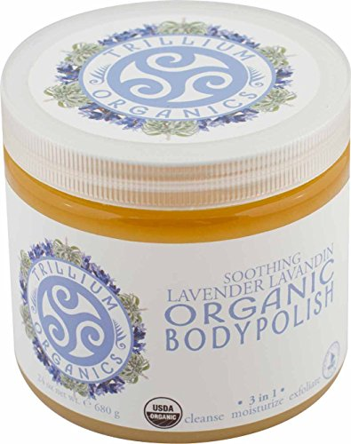Trillium Organics Body Polish Lavender Geranium Calming Salt Scrub 24 Ounces