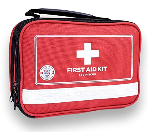 Always-Prepared-First-Aid-Medical-Kit-in-Red-Fabric-Bag-with-Reflective-Strip-100-Pieces