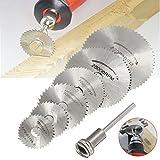 "Lukcase 6pcs 1/8"" HSS High Speed Steel Circular Saw Blades For Dremel Rotary Tool W/Shank"