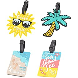 4 Pack Unique Luggage Tag Travel Suitcase Bag Summer Beach Series Identify Label with Loop (4 PCS) by OVOV