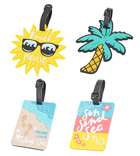 Beach Luggage Tag - 4 Pack Unique Luggage Tag Travel Suitcase Bag Summer Beach Series Identify Label with Loop (4 PCS) by OVOV