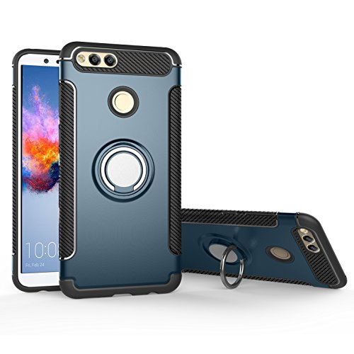 Orzero TPU + PC Hybrid Dual Layer Case For Huawei Honor 7X/Huawei Mate SE Full Body Heavy Duty Protection 360 Rotating Metal Ring [Adsorbed iron Plate] (Huawei Honor 7X Not Included)-Navy