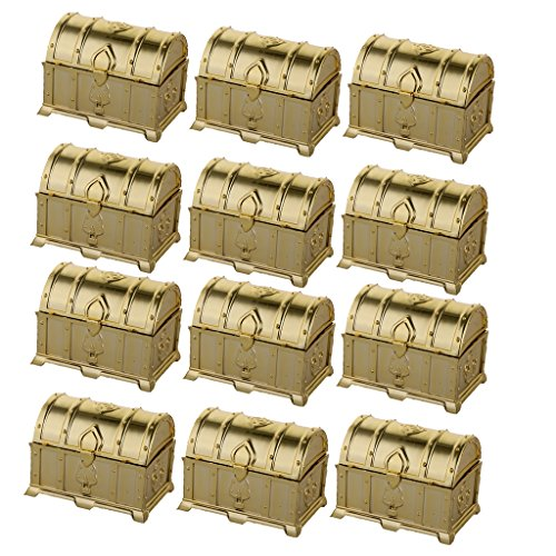 MonkeyJack Pack of 12 Loot Bags Treasure Chest Candy Boxes Wedding Favor Kids Party Accessory - Gold
