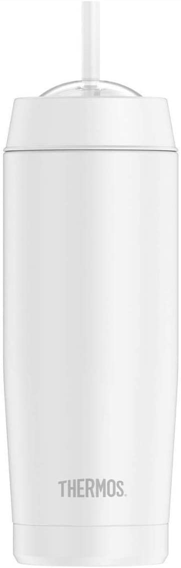 Thermos 18-Ounce Vacuum Insulated Cold Cup with Straw (White)