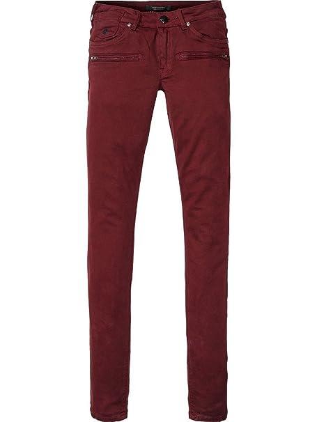 Maison Scotch Granate Mujer Parisienne Zip Luna Pantalones La P0OX8wnk