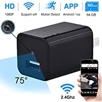 ONMet USB Wall Charger Camera Wifi Hidden Spy IP Camera 1080P Wifi Adapter Mini Security Camera Nanny Cam with Motion Detection Video Record Max Support 64GB SD Card