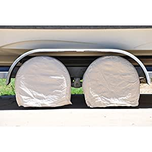 """TCP Global Set of 4 Canvas Wheel Tire Covers for RV Auto Truck Car Camper Trailer to 28"""" Diameter"""