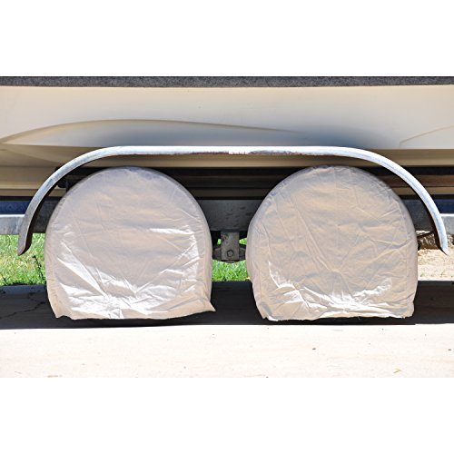 "TCP Global Set of 4 Canvas Wheel Tire Covers for RV Auto Truck Car Camper Trailer to 28"" Diameter"