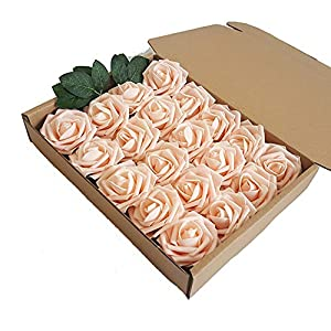 Eternal Blossom Artificial Flower Rose 8cm, Fake Flower Stem 20pcs Real Touch Artificial Roses for DIY Bouquets Wedding Party Home Decorations (Champagne) 31