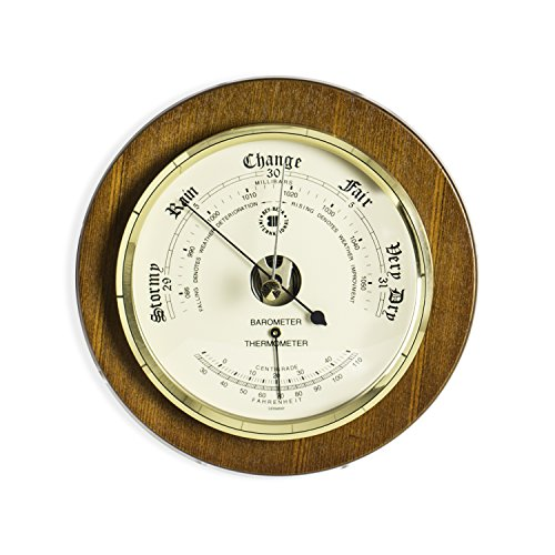 Time Factory AJ-WS075 Barometer with Thermometer on Cherry Wood with Brass Bezel, 9