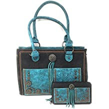 Set of Montana West Concealed Carry Zip Top Shoulder Bag Tote Floral Tooled Design With Concho and Denim Handbag Purse With Tassel And Western Styling With Matching Wallet