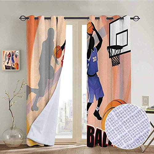 NUOMANAN Room Darkening Wide Curtains Basketball,Basketball Action Players on Abstract Background Classical Poster Style Print,Orange Black,Light Blocking Drapes with Liner ()