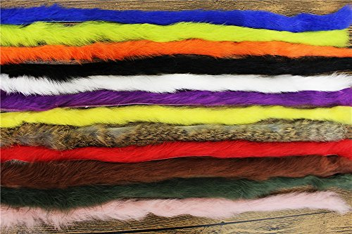 (Tigofly 12 Colors Straight Cut Rabbit Zonker Strips 5MM Width Genuine Hare Hair Fur Streamers Fly Tying Materials)