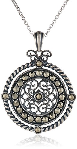 Sterling Oxidized Marcasite Medallion Necklace