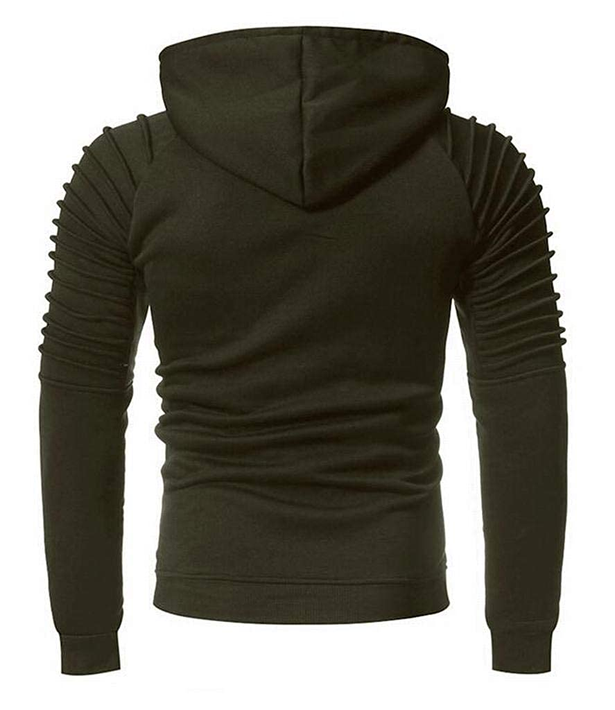 Fubotevic Mens Pure Color Slim Fit Ruched Casual Long Sleeve Pullover Hoodie Sweatshirt