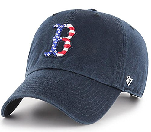 '47 Authentic Boston Red Sox NAVY SPANGLED BANNER Clean Up Strap back Cap Hat
