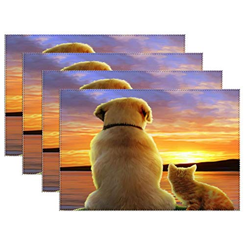Yilooom Cute Sunset Puppy Dog Kitty Cat Friend Set of 6 Heat Resistant Stain Insulation Place Mats Anti-Skid Washable Canvas Table Placemats for Chistmas Holiday Decor 12 X 18 Inch