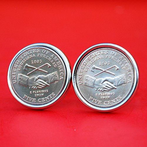 A Pair of US 2004 Jefferson Nickel 5 Cent BU Uncirculated Coin Silver Plated Cufflinks NEW - Louisiana Purchase/Peace Medal Handshake