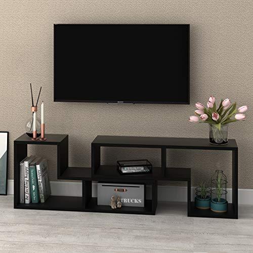 "DEVAISE 0.94"" Thk TV Stand, Modern Entertainment Center Media Stand with Open Storage Shelves, Black"