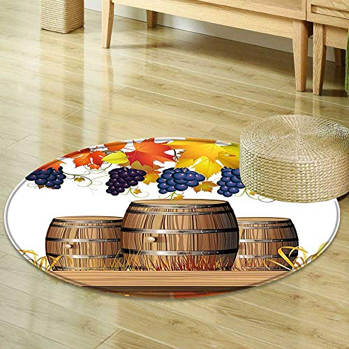 Mikihome Round Area Rug Grapes Wood Wine Barrels with Faded Golden Autumn Leaves Fall Sunlight Design Orange Brown Indoor/Outdoor Round Area Rug R-35 ()