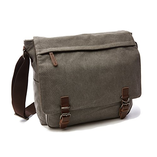 Mens Clearance Sb (Sechunk Canvas Leather Messenger Bag Shoulder bag Cross body bag Crossbody small for men boy girl student school (grey, large))