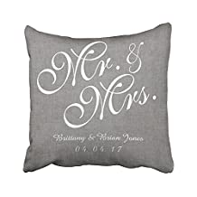 Sneeepee Decorative Pillowcases Vintage Gray White Linen Mr Mrs Wedding 20X20 Inches Throw Pillow Covers Cases Home Decor Sofa Cushion Cover