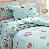 Wildkin Lightweight Full Comforter Set, 100% Cotton Full Comforter with Embroidered Details, Includes Two Matching Shams, Coordinates with Other Room Décor, Olive Kids Design – Birdie